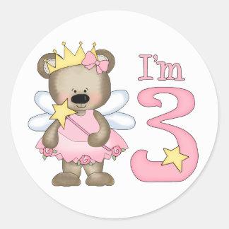 Princess Bear 3rd Birthday Round Stickers