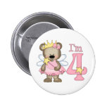 Princess Bear 4th Birthday Pinback Button