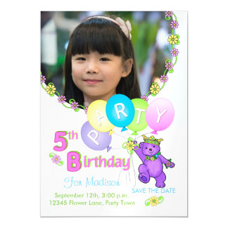 Princess Bear Custom 5th Birthday Party Magnetic Invitations