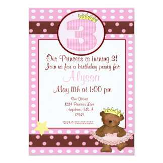 Princess bear girls 3rd birthday invitation