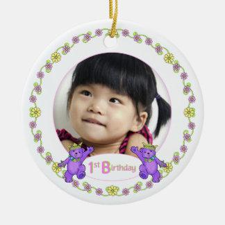 Princess Bears 1st Birthday Photo Keepsake Christmas Ornament
