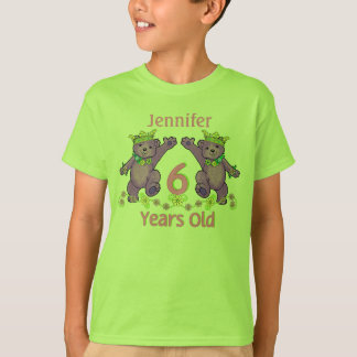 Princess Bears 6th Birthday Custom Name T-Shirt