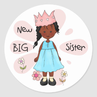 Princess Big Sister African American Classic Round Sticker