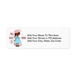 Princess Big Sister African American Return Address Label
