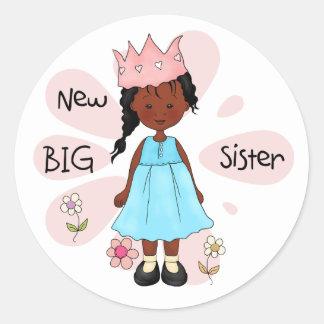 Princess Big Sister African American Round Sticker