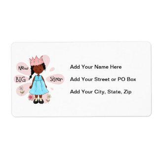 Princess Big Sister African American Shipping Label