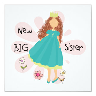 Princess Big Sister Brown Hair 13 Cm X 13 Cm Square Invitation Card
