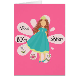 Princess Big Sister Brown Hair Card