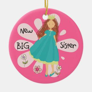 Princess Big Sister Brown Hair Christmas Ornament
