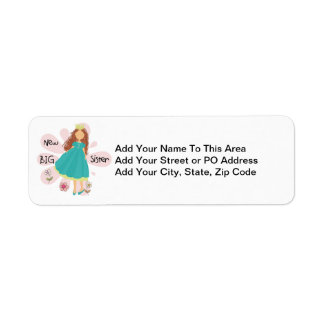 Princess Big Sister Brown Hair Return Address Label
