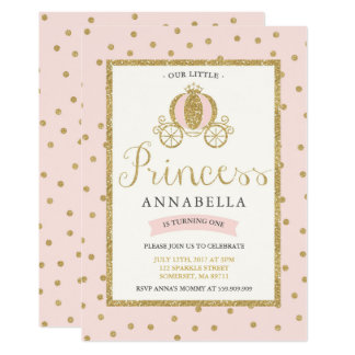 Princess Birthday Invitation Blush Pink Gold
