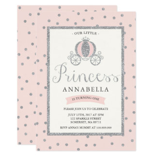 Princess Birthday Invitation Blush Pink Silver