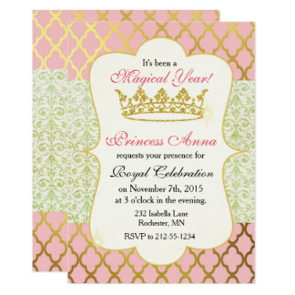 Princess Birthday Invitation-Pink and Gold Card