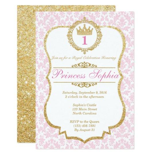 Princess Birthday Invitation Pink & Gold | Zazzle.co.uk