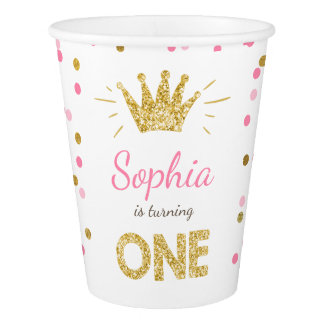 Princess birthday Paper Cup Gold pink Crown