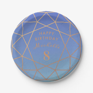 Princess Birthday Party Faux Rose Gold Blue Jewel Paper Plate
