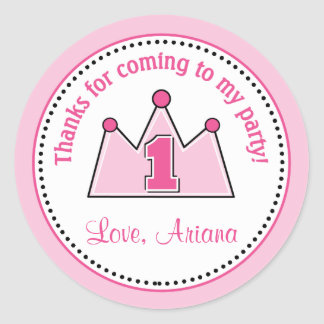 Princess Birthday Party Favor Tag Sticker