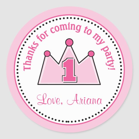 Princess Birthday Party Favour Tag Sticker