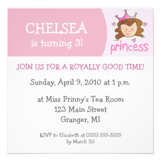 Princess Birthday Party Invitations - Brunette