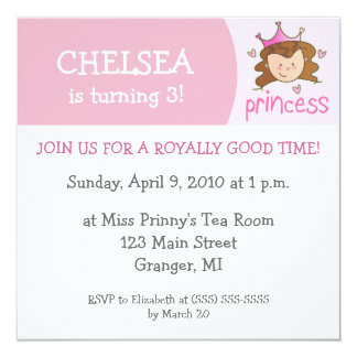 Princess Birthday Party Invitations - Brunette