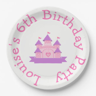Princess Birthday Party Pink and Purple 9 Inch Paper Plate