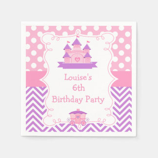 Princess Birthday Party Pink and Purple Disposable Napkin