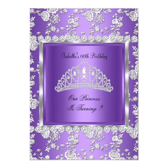 Princess Birthday Party Purple Silver Tiara Card