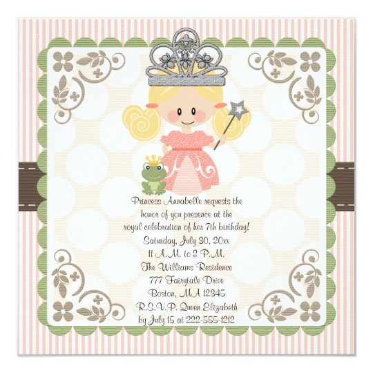Princess Birthday Photo Invitations Blonde
