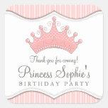 Princess Birthday Pink Crown Favor Sticker