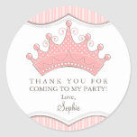 Princess Birthday Pink Crown Thank You Sticker