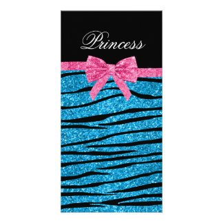 Princess blue glitter zebra stripes pink bow personalized photo card