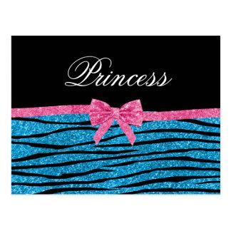 Princess blue glitter zebra stripes pink bow postcard