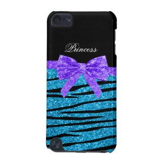 Princess blue glitter zebra stripes purple bow iPod touch (5th generation) covers