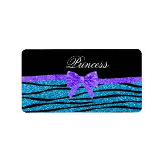 Princess blue glitter zebra stripes purple bow address label