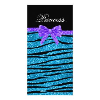 Princess blue glitter zebra stripes purple bow photo card