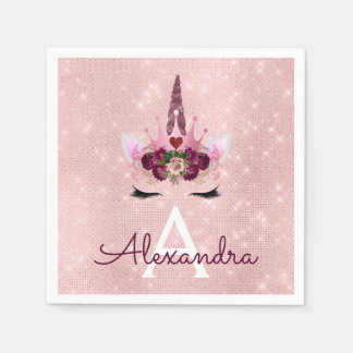 Princess Blush Pink Sparkle Unicorn Monogram Disposable Napkin
