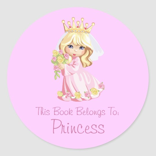Princess Book Label Personalised Round Sticker