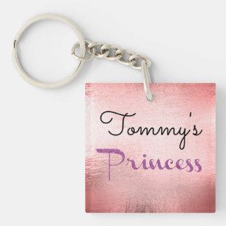 Princess Boyfriend Girlfriend Date Pink Foil Key Double-Sided Square Acrylic Key Ring