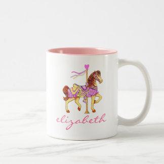 Princess Carousel Horse-Personalized Two-Tone Coffee Mug