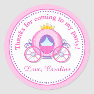 Princess Carriage Birthday Party Favor Tag Sticker