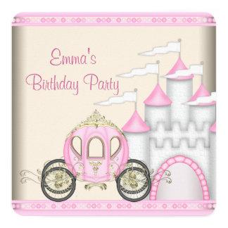 Princess Carriage Castle Girls Princess Birthday 13 Cm X 13 Cm Square Invitation Card