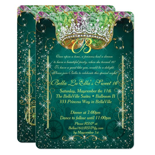 Princess Carriage Jewel Party Birthday Invitations
