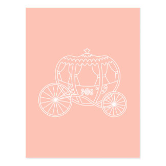 Princess Carriage on Coral Pink Color Postcards