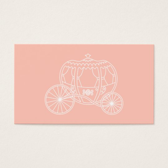 Princess Carriage on Coral Pink Colour. Business Card