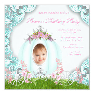 Princess Carriage Photo Pink Teal Birthday Party Card