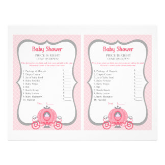 Princess Carriage Pink Baby Shower Price Game 21.5 Cm X 28 Cm Flyer