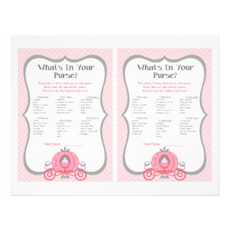 Princess Carriage Pink Baby Shower Purse Game 21.5 Cm X 28 Cm Flyer