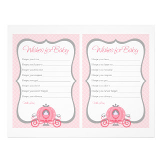 Princess Carriage Pink Baby Shower Wishes For Baby 21.5 Cm X 28 Cm Flyer