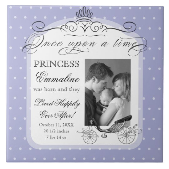 Princess Carriage Polka Dot Swirl Photo Baby Girl Tile
