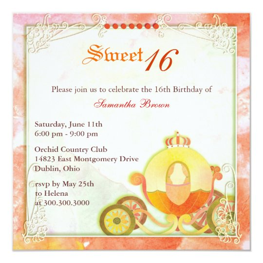Princess Carriage Sweet 16 Birthday Party Card